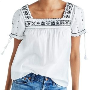Madewell Embroidered La Villa Peasant Shirt Top XS